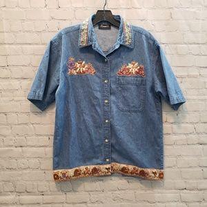 Vintage Denim Teddy Bear Embroidered Denim Top